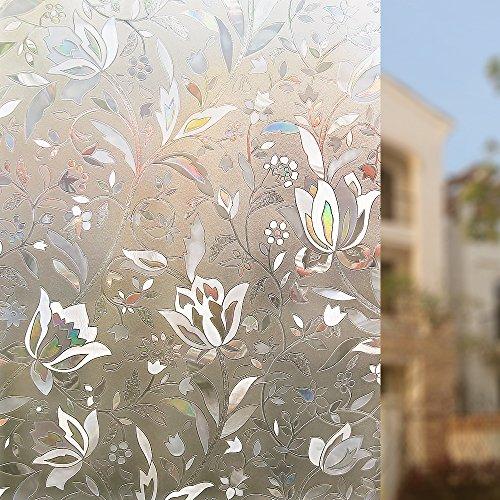 Rabbitgoo® 3D hochwertige Premium No-Kleber Wiederverwendbare Statische erhellende Dekorative Privatleben Frost Glas-Fenster-Film-Aufkleber Anti-UV-44.5cm x 200cm Blumen-Entwurf | Upgrade-Version für Heim Kueche Buero