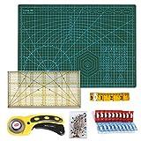 Alfombrilla de corte A3(45x30 cm)+ Cortamoquetas + Patchwork de regla + Cinta métrica + Abrazadera de plástico (20 unidades) + Alfileres (40 unidades), 6 piezas Juego de patchwork, para cortar Set