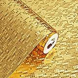 KeTian Premium-Tapete, dicke Goldfolie mit Flimmeroptik, als dekorative Wandgestaltung, 0,53 m x 10 m gerollt, für eine Fläche von 5,3 m2