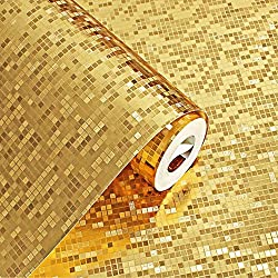 KeTian Modern Luxury Thick Gold Foil Mosaic Background Flicker Wall Paper Roll/Hotel Ceiling/Decorative/Bar Wallpaper Roll Gold Color 0.53m (1.73' W) x 10m(32.8'L)=5.3m2 (57 sq.ft)