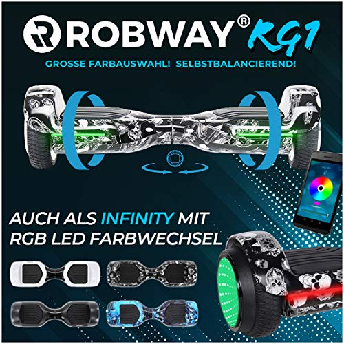 Robway Rg1 Hoverboard - Das Original - Self e Balance - 2 x 350 Watt Motoren - Led 16 Mio Farben - Bluetooth - App - Lithium Akku (Black Skull)