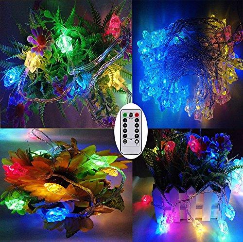 Luz de hadas a pilas, 33FT/10Meters 80Led estrella en forma de luz de cadena con temporizador remoto para la decoración de la Navidad al aire libre/interior, fiesta de cumpleaños, sala de estar (multicolor)