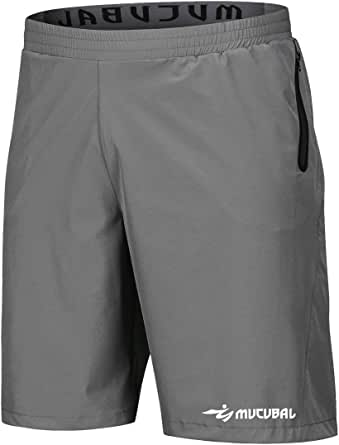 MUCUBAL Athletic Shorts Men Quick Dry Lightweight Running Sport Shorts with Reflective Zip Pockets