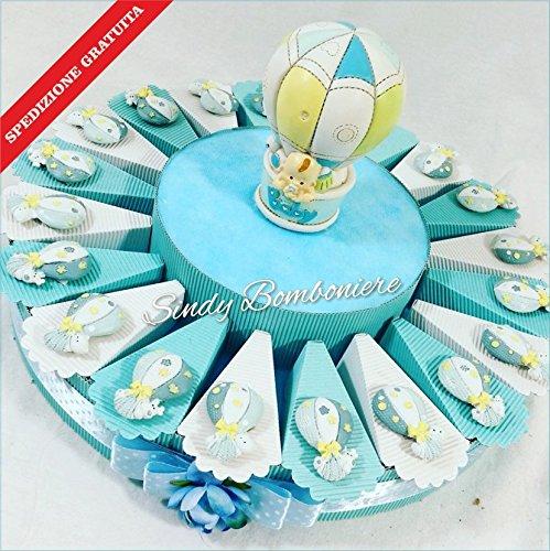 Bomboniere originali solidali amref con mongolfiere con animaletti battesimo nascita spedizione inclusa (torta da 20 fette)