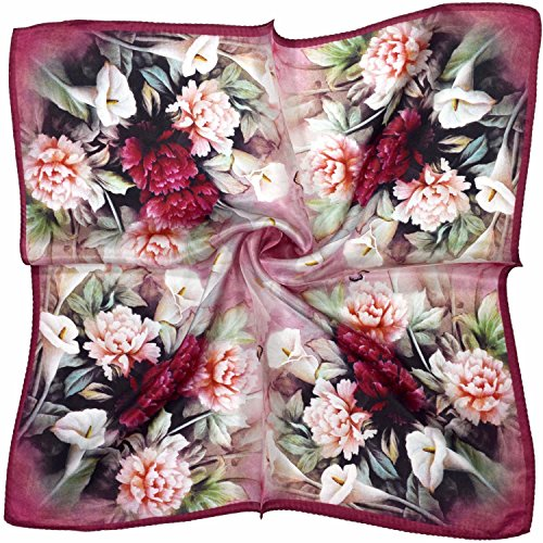 Preisvergleich Produktbild Rote Creme Blumen Und Schmetterling Gedruckt Dicken Seide Kleinen Quadratischen Schal
