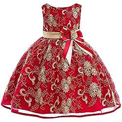Xmiral Traje para Niñas de Ceremonia con Flores Bordado Vestido Formal de Princesa sin Mangas Dress Elegante (5-6 años,Rojo)