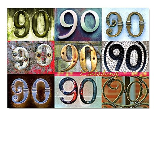 DigitalOase Einladungskarte 90. Geburtstag 90. Jubiläum A5 Geburtstagskarte 1 Klappkarte 1 Kuvert #LETTERS