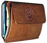 GoBeyond® Kleiner Geldbeutel mit Münzgeldfach ECHT LEDER | Mini-Portemonnaie Kleingeldfach | kleine dünne Geldbörse | Damen & Herren (Braun (ohne Geschenkbox))