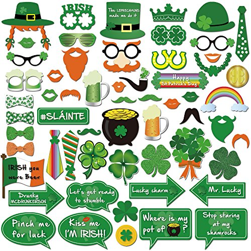 Howaf 50pcs st. Patrick's Day Photo Booth Props Brillen Masken Hut Foto Requisiten Foto Accessoires für st. Patrick's Day deko