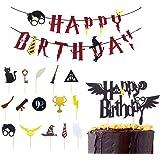 Feliz Cumpleaños Banderas,Suministros de Fiesta de Feliz Cumpleaños,Decoración de Pastel de Mago,Decoración de Pastel de Harr