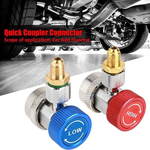 R134A Adapter, High-Low-Schnellkupplungskupplungsadapter für Klimaanlagen, Autokühlung Freon Manifold Manometer Schlauch Messing Schnellkupplungskupplung mit Kappe
