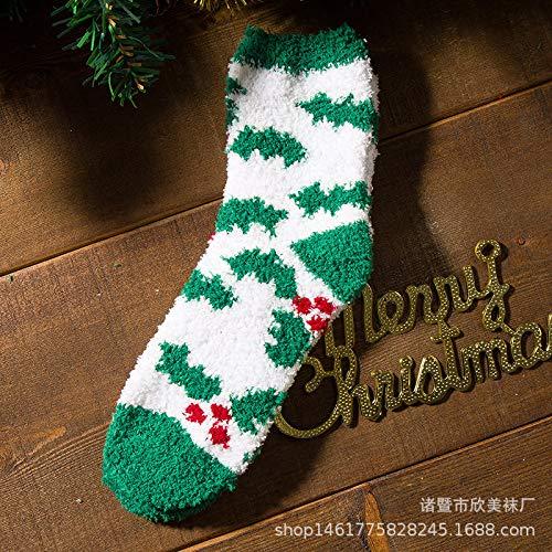 Hezeyang Coral Samt Socken halben Samt Socken Weihnachtssocken Koreanische Version der dicken warmen Paar Socken niedlichen Cartoon Schnee
