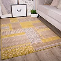 Milan Ochre Mustard Yellow Grey Beige Patchwork Squares Traditional Living Room Rug by The Rug House