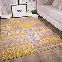 Milan color ocre amarillo mostaza gris beige en cuadros de patchwork tradicional alfombra de salón 160cm x 230cm