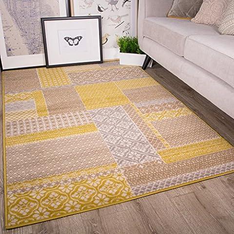 Tapis de salon traditionnel Milan motif Patchwork ocre gris beige et jaune moutarde 160cm x 230cm