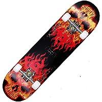 Keep Che Rétro Skate Board en Bois D'érable, Skull Skateboard Complète 31x7.8 Pouces Planches À roulettes Trick Cruiser Débutants Longboard avec Maple Deck Adult