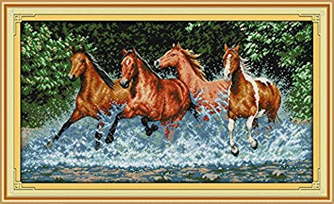 CaptainCrafts Hot New Releases Cross Stitch Kits Patterns Embroidery Kit - Horses (WHITE)