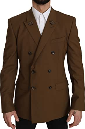 Dolce & Gabbana Brown Wool Royal Crown Jacket Blazer