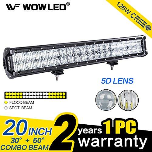 WOWLED 50,8 cm 126 W 5D Optische Linse Arbeitsleuchte LED Arbeits-Licht-Bar Nebel Licht Wasserdicht IP67 für LKW 4 WD Trailer Traktor 4 x 4 Boot SUV ATV (4x4-licht Bar)