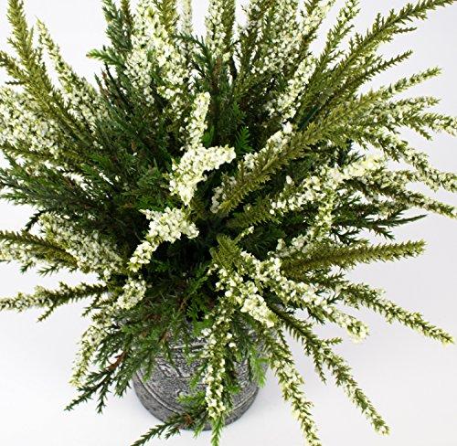 artplants Set 2 x Künstliche Erika im Metalltopf, weiß, 32 cm, Ø 25 cm – Kunstpflanze im Topf/Heidekraut künstlich