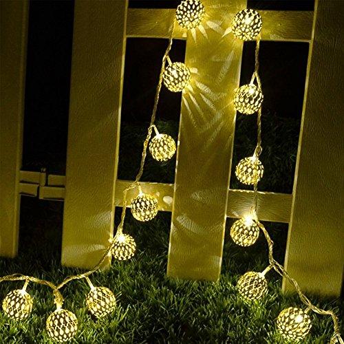 Marokkanische Schlafzimmer Dekorationen (Geometrische Schnur Lichter Außen,KINGCOO 15.7FT/4.8M 20LED Warmweiß Beleuchtung Metall Ambiente Ornament Solar Fairy Dekorative Lichterketten für Home Patio Schlafzimmer Garten Hochzeit Innenausstattung (Marokkanischer Ball))