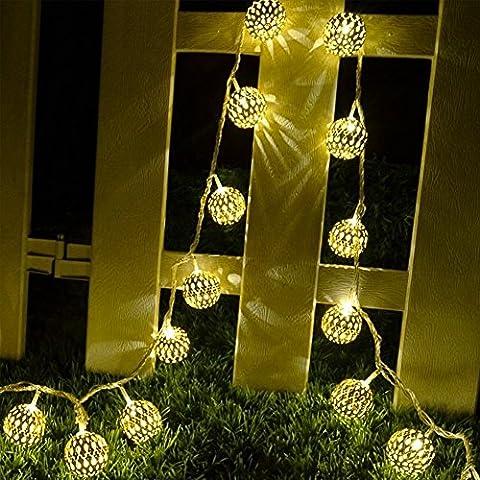 JOJOO 12 LED 12 pies marroquí solar luces de la secuencia de globo de metal de las linternas Decoración de las luces para jardín, boda, partido, al aire libre y Navidad, Amber LT004