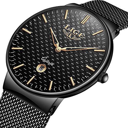 Montre de Quartz analogique Sport imperméable Simple de la Mode Homme LIGE avec Noir Montre-Bracelet Maille d'acier Inoxydabl