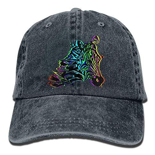 Presock Funny Colorful Zebra Head Denim Hat Adjustable Womens Funny Baseball Hat Low-profile Wall Mount Rack
