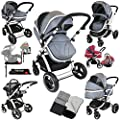 i-Safe System + iSOFIX Base - Grey Trio Travel System Pram & Luxury Stroller 3 in 1 Complete With Car Seat + Footmuff + Carseat Footmuff + RainCovers by iSafe