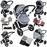 i-Safe System + iSOFIX Base - Grey Trio Travel System Pram & Luxury Stroller 3 in 1 Complete with Car Seat + Footmuff + Carseat Footmuff + RainCovers