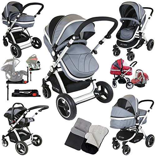 i-Safe System + iSOFIX Base – Grey Trio Travel System Pram & Luxury Stroller 3 in 1 Complete With Car Seat + Footmuff + Carseat Footmuff + RainCovers 61cvL1FOc 2BL