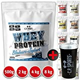 Whey Protein - 500g, 2000g, 4000g, 8000g Beutel C.P. Sports, Eiweißpulver in 12 leckeren Geschmacksrichtungen + kostenlosem Eiweißshaker (Stracciatella, 500g - Beutel)