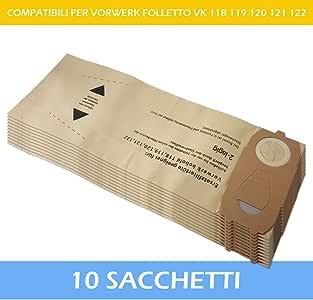10 SACCHETTI PER ASPIRAPOLVERE VORWERK FOLLETTO VK 118 119