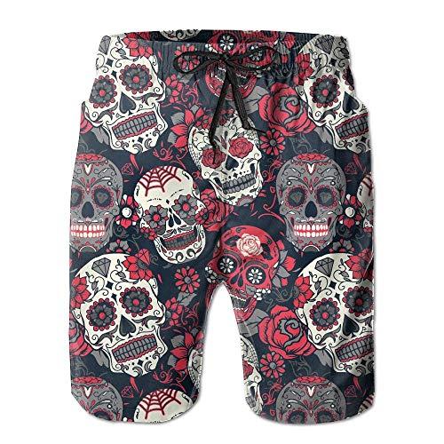 artyly Herren Sommer Dead Sugar Skull Floral Rose Schnelltrocknend Badehose Boader Shorts Beach Badeanzug Sport, Größe M