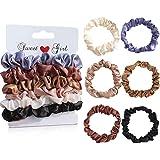 Uni-Fine 6 pezzi scrunchies raso raso / seta elastici capelli raso traceless elastici per capelli antiscivolo scrunchies per