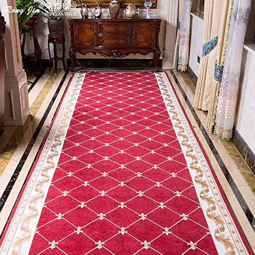 QIGE Teppich Korridor Teppich Eingangstür Hause Veranda Gang Voll Wasserabsorbierende Rutschfeste Matte, 160Cm * 100Cm, Weinrot