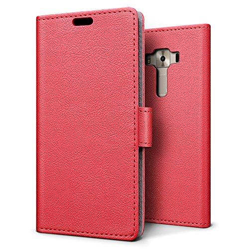 SLEO ASUS ZenFone 3 Deluxe (ZS550KL) Hülle, PU Leder Case Tasche Schutzhülle Flip Case Wallet im Bookstyle für ASUS ZenFone 3 Deluxe (ZS550KL) Cover - Rot