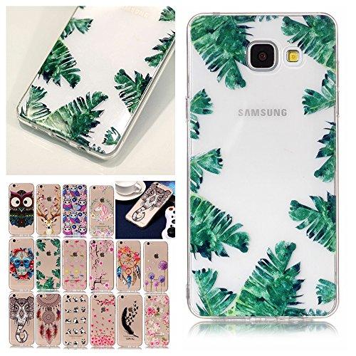 V-Ted kompatibel mit Samsung Galaxy A3 2017 Hülle Case Transparent mit Muster Tropisch Blätter Ultra Dünn Durchsichtig Silikon Gummi Bumper Etui Schutzhülle Tasche Folie Handyhülle