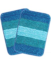 Saral Home Microfiber Bath Mat (35x50cm, Turquoise) - Pack of 2)