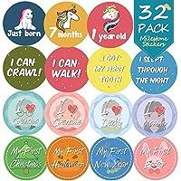 BeYumi 32 Pack Baby Monthly Milestone Stickers, Unicorn Onesie Belly Stickers for Newborn Baby First Year, Great Shower Gift for Baby