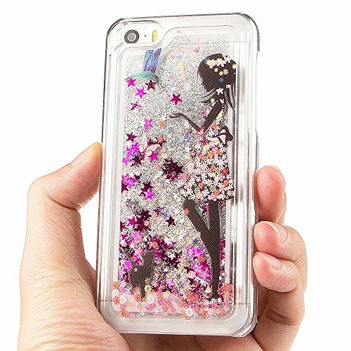 iPhone 5C à paillettes Bling cas, iPhone 5C Étui en forme de cœur étoiles Quicksand, newstars Design Creative 3D Fluide flottant Sparkle Liquide en Plastique Transparent dos transparent coque rigide Girl&Floral Dress