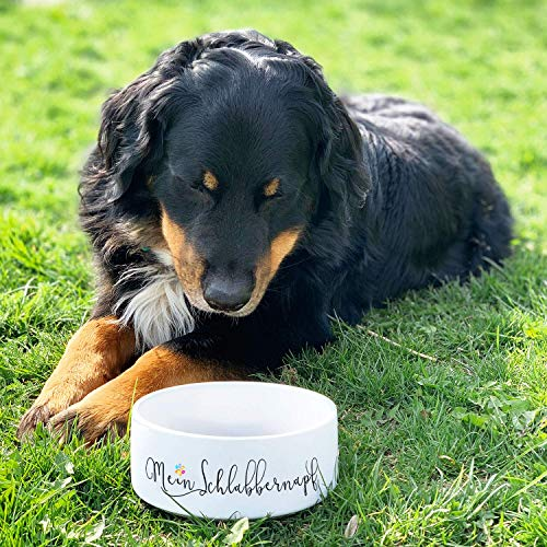 CADOURI – Keramik Hundenapf Futternapf Wassernapf mit Schriftzug MEIN SCHLABBERNAPF – 1.300 ml - 3
