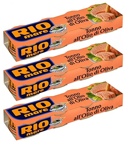 Rio Mare: Set of 12 Cans of Tuna Fish in Olive Oil, Yellowfin Tuna Quality * Pack of 12, 80g (2.82oz) Each * 960g (33.86oz) Total * [ Italian Import ]