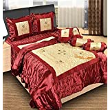 The Intellect Bazaar 7 Pc Satin Luxury Designer Wedding Bedding Set With Filled Cushions And Bolsters