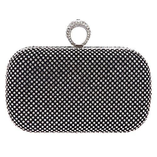 Bonjanvye Knuckles Shining Clutch Purses for Women Handbag and Evening Bags Black