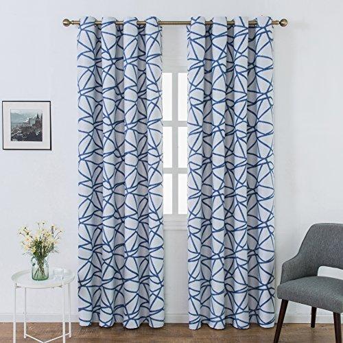 Top finel tende oscuranti per sole panno occhielli con striscia decorativi per intini finestra balcone casa 140x240cm 2 pezzi-blu