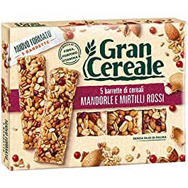 Gran Cereale – Snack Barrette 4 Cereali Mandorle e Mirtilli Rossi – Colazione e Snack Dolce – 135 gr