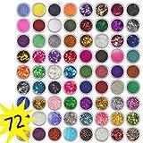 Hunpta 72 Farben Zinkblume Glitter Nail Art Pailletten Acryl UV-Pulver polnischen Tipps Set