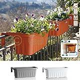 Geländerkasten Balkonkasten Geländer Blumen Kasten Topf Halterung Wasserspeicher Weiß 50 cm