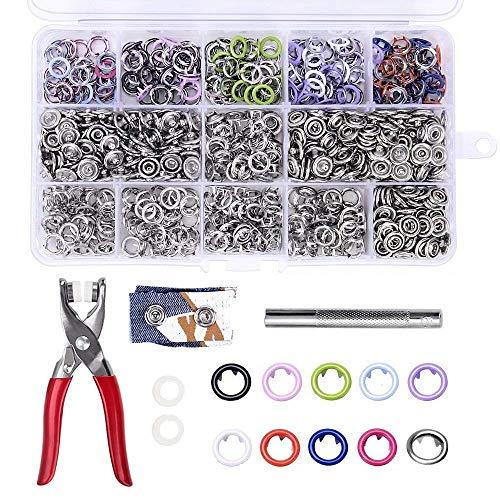 TopDirect 200 Set x 9,5mm Druckknöpfe, Druckknopf Poppers mit Zangen Set, Nähfrei Buttons Werkzeug, 10 Farben